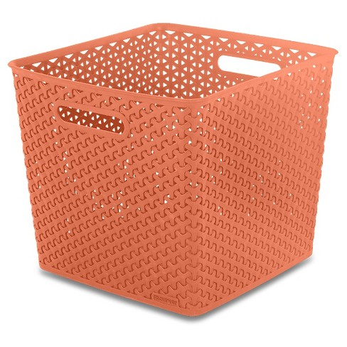 Y-Weave Large Square Storage Bin - Peach - Room Essentials™ - image 1 of 1
