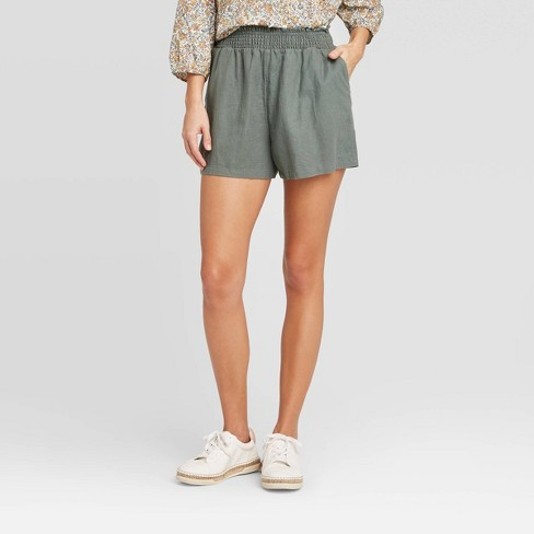 Women's High-Rise Pull-On Shorts - Universal Thread™ Olive L - image 1 of 3