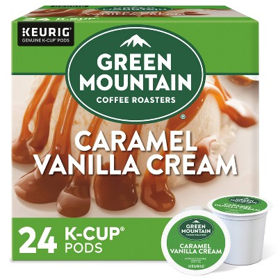 24ct Green Mountain Coffee Caramel Vanilla Cream Keurig K-Cup Coffee Pods Flavored Coffee Light Roast