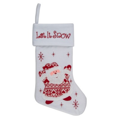 "Northlight 19"" Red and White ""Let It Snow"" Santa Claus Embroidered Christmas Stocking"