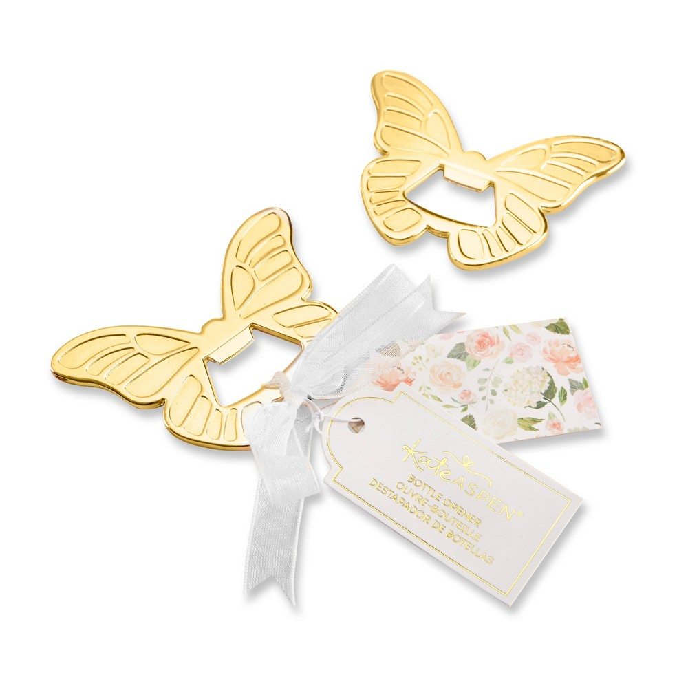 Kate Aspen Set Of 6 Butterfly Bottle Opener Gold