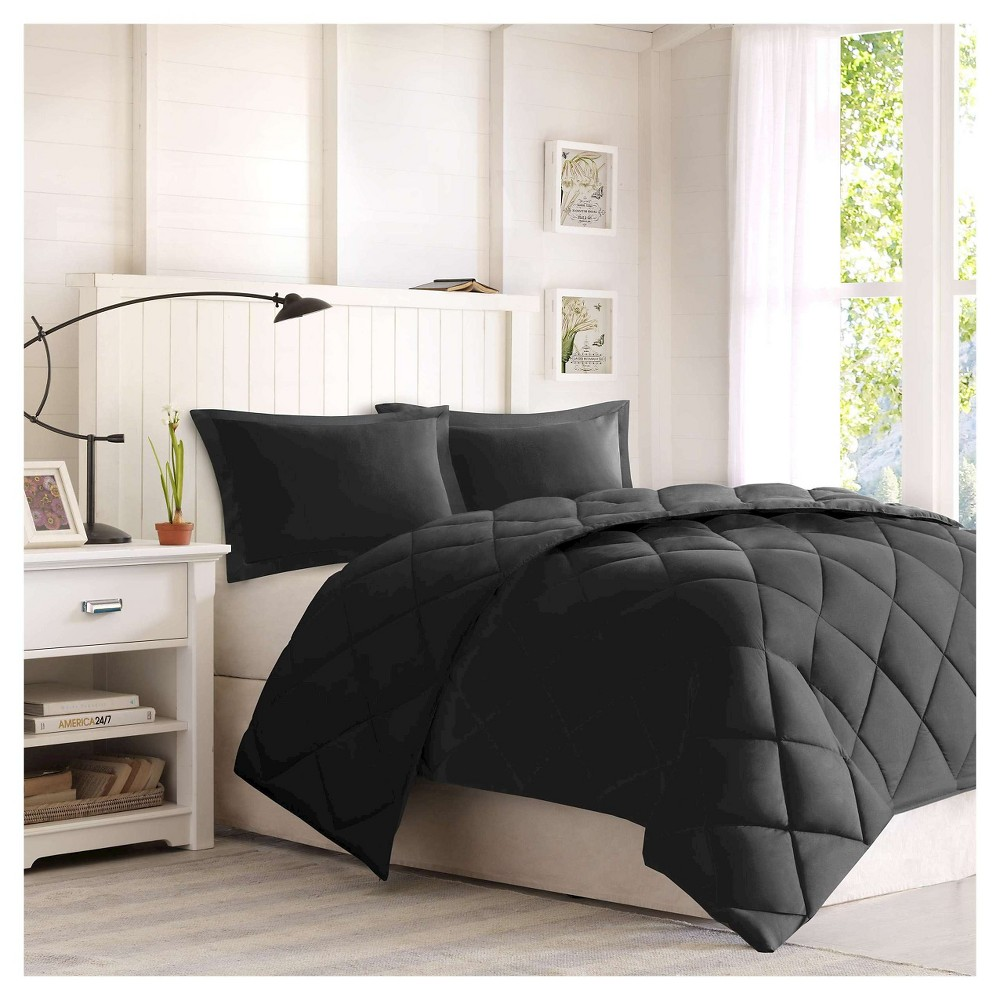 Image of 3pc King Windsor Reversible Down Alternative Comforter Set with 3M Stain Resistance Finishing Black