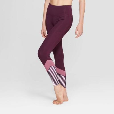 Women's Performance Striped High-Waisted 7/8 Leggings - JoyLab™ Plum Purple M