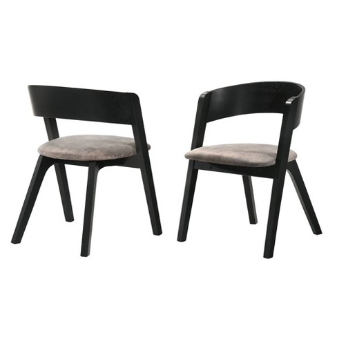 Set Of 2 Jackie Mid Century Upholstered Dining Chairs Black Finish Armen Living Target