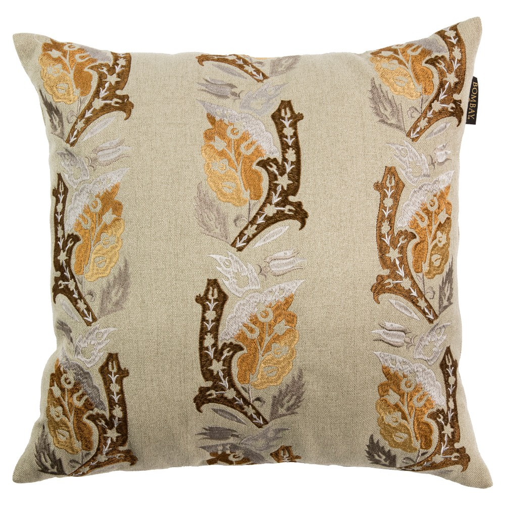 "Image of ""Cream Sari Throw Pillow (20""""X20"""") - Bombay"""