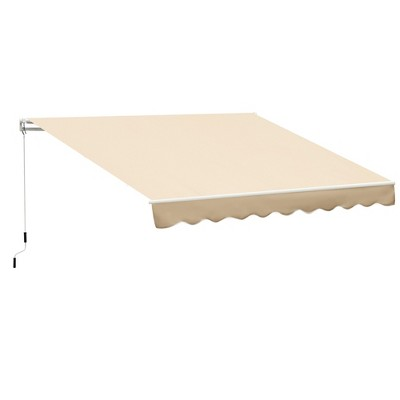 Outsunny 10' x 8' Manual Retractable Patio Sun Shade Awning