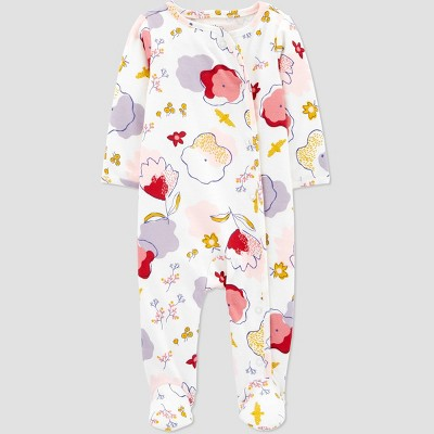 Baby Girls' Organic Cotton Floral Sleep N' Play - little planet organic by carter's White/Pink Newborn