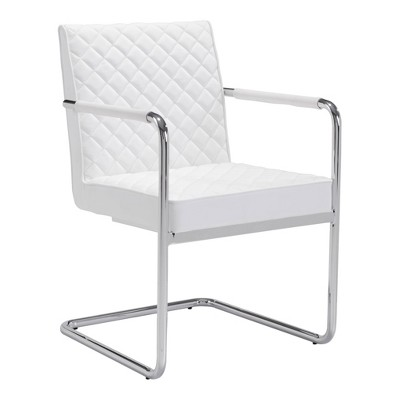 Set of 2 Modern Upholstered and Chromed Steel Cantilever Dining Chair White - ZM Home