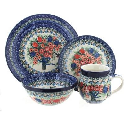 Blue Rose Polish Pottery Blush Bouquet 16 Piece Dinner Set