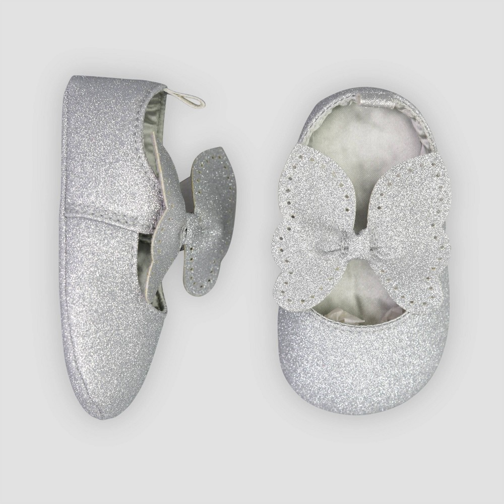 Image of Baby Girls' Mary Jane Shoes - Just One You made by carter's Silver 0-3M, Girl's, Size: Small