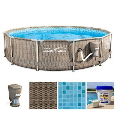 Summer Waves P20012335 12ft x 30in Outdoor Round Frame Above Ground Swimming Pool Set with Skimmer Filter Pump, Filter Cartridge & Solution Blend