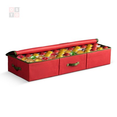 OSTO Underbed Christmas Ornament Storage Box Stores Up to 120 Holiday Ornaments of 3 in; Non-Woven Fabric with Carry Handles