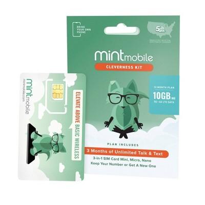 Mint Mobile 12 Month 10GB/mo Plan SIM Kit