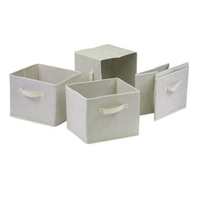 Set of 4 Capri Foldable Fabric Baskets Beige - Winsome