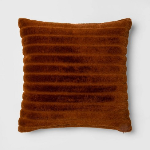 Euro Channeled Faux Fur Throw Pillow Bronze - Project 62™ + Nate Berkus™ - image 1 of 4