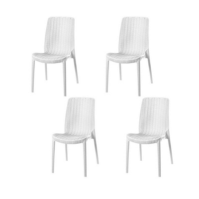 4pc Rue Stackable Rattan Dining Chairs - Lagoon