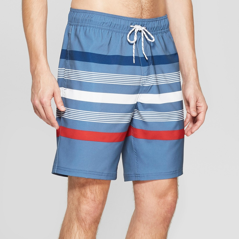 Men's 8 Striped Long Volley Board Shorts - Goodfellow & Co Shallow Blue M
