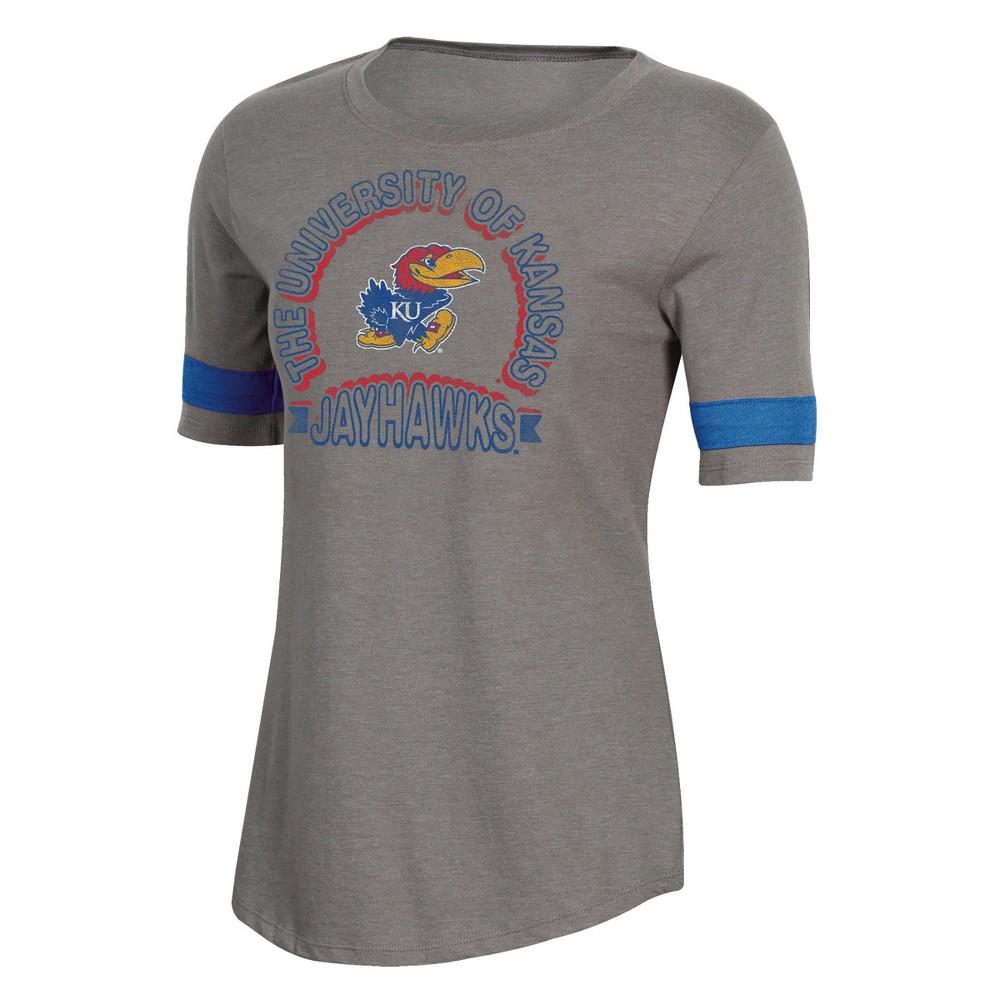 NCAA Women's Short Sleeve Scoop Neck T-Shirt Kansas Jayhawks - M, Multicolored