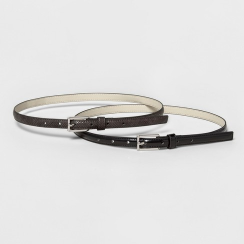 Women's Belt with Buckle Closure - A New Day™ Black S - image 1 of 3