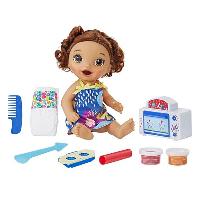 Baby Alive Snackin Treats Baby - Brown Curly Hair