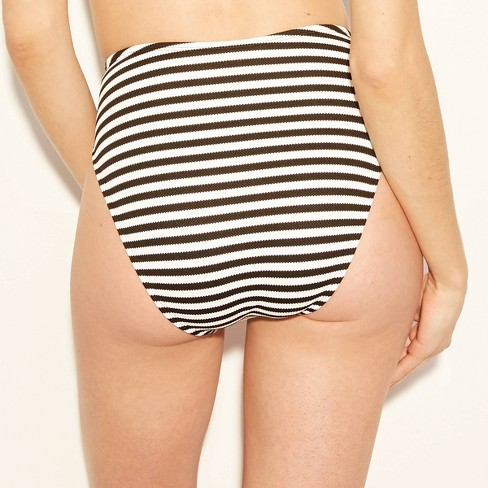 1fc361341c8c3 Women's Textured Stripe High Leg High Waist Bikini Bottom - Shade & Shore™  Black/White Stripe : Target