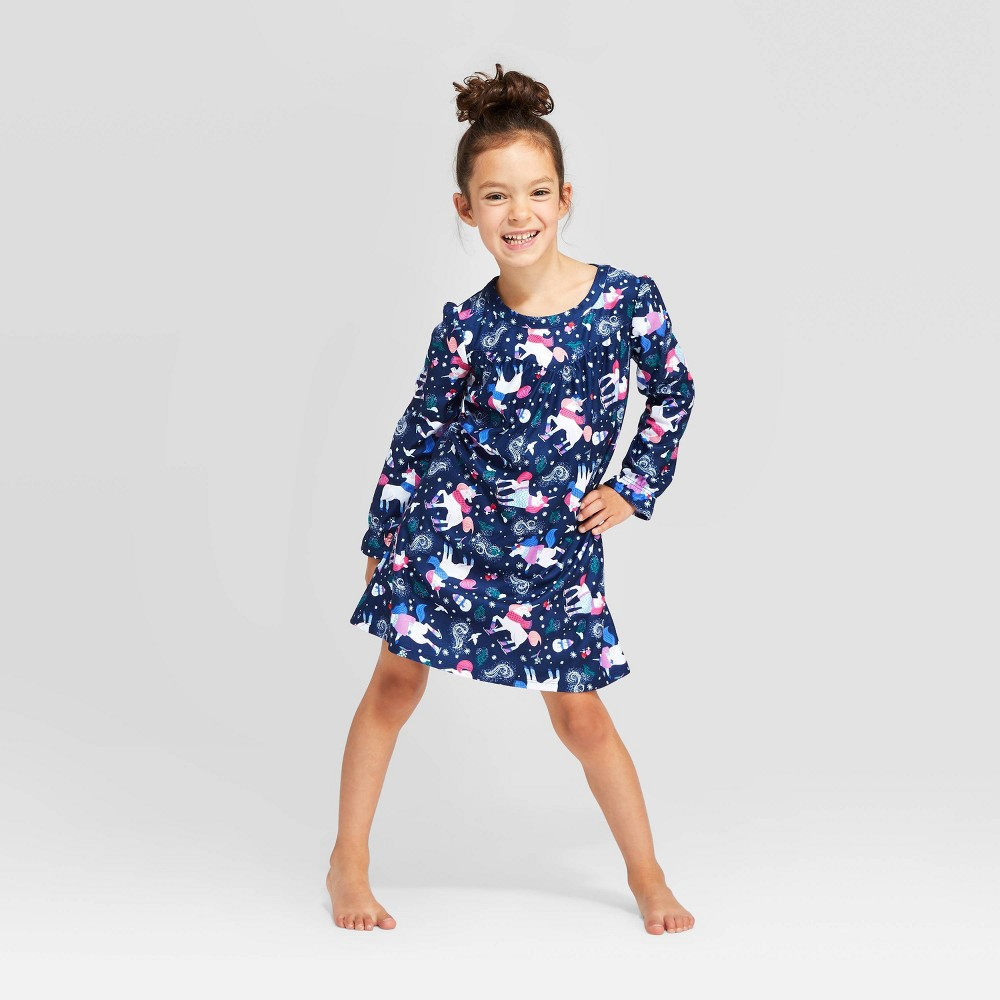 Image of Girls' Holiday Unicorn Nightgown - Navy 10, Girl's, Blue