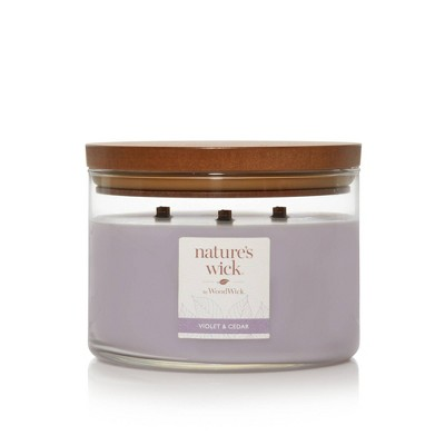 Lidded Glass Jar Crackling Wooden Wick Violet and Cedar Candle - Nature's Wick