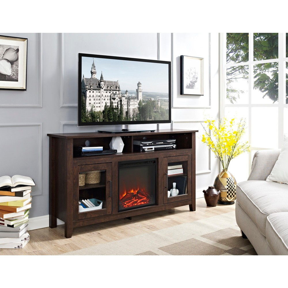 58 Wood Highboy Fireplace Media TV Stand Console - Traditional Brown - Saracina Home