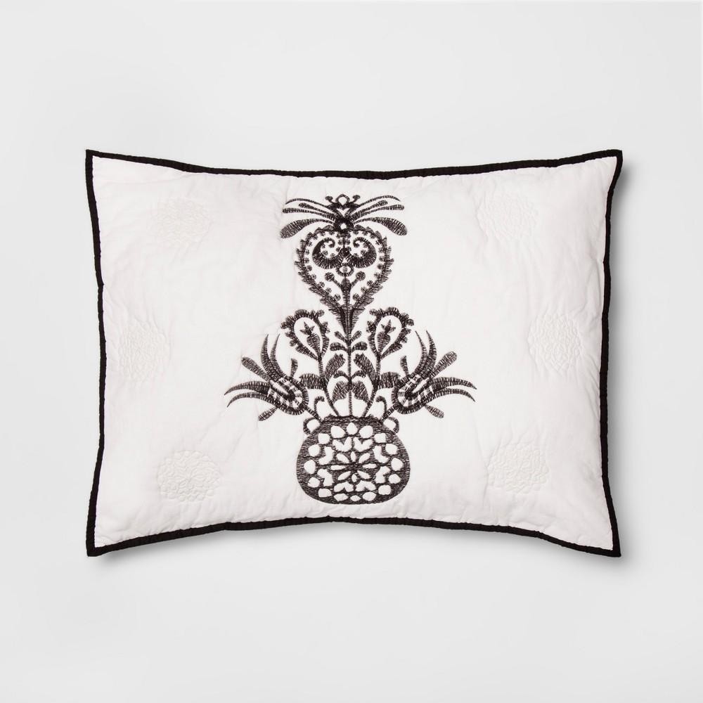 Black Mallorca Embroidered Ornament Sham (Standard) - Opalhouse