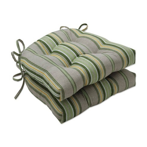 2pc Terrace Indoor/Outdoor Reversible Chair Pad Sunrise Green - Pillow Perfect - image 1 of 1