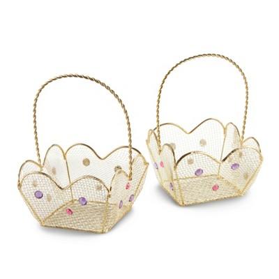 6ct Indian Jewel Favor Basket with Jewel Details Gold