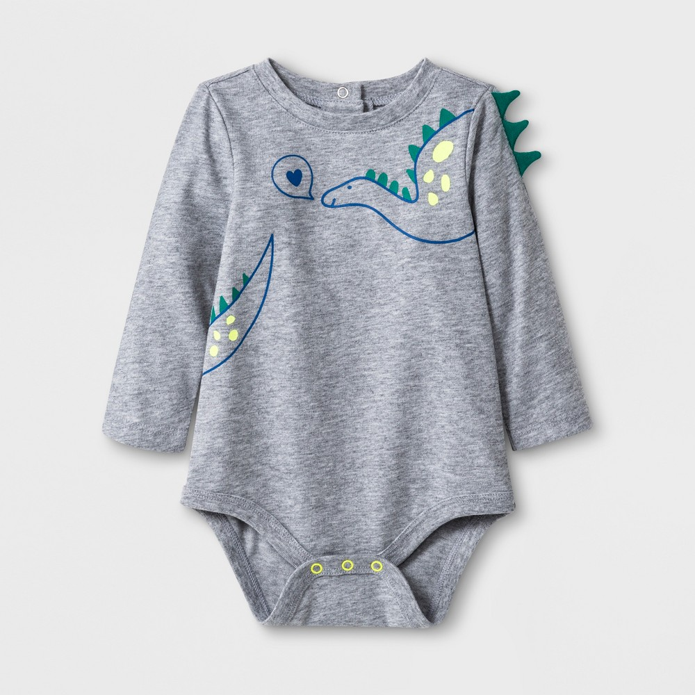 Baby Boys' Long Sleeve Dinosaur Spike Bodysuit - Cat & Jack Light Heather Gray 0-3M