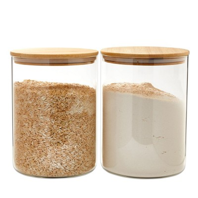 Juvale 2 Pack LargeGlass StorageContainers with Bamboo Lids, Airtight Pantry Canisters (100 oz)