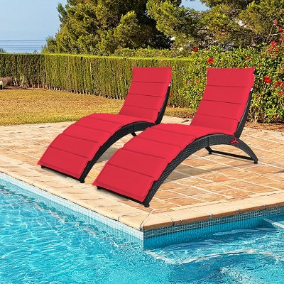 Costway 2PCS Folding Patio Rattan Lounge Chair Chaise Cushioned Portable Garden Lawn Red