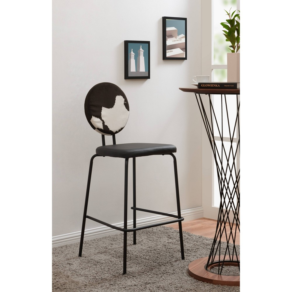 Image of Backed Upholstered Barstool Cow Print Black- Acessentials, White Black