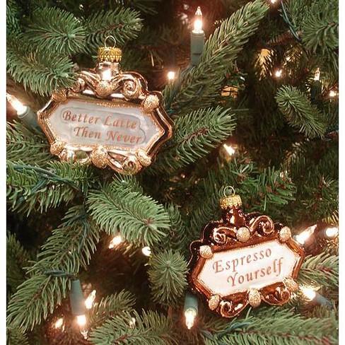 Coffee Christmas Ornament.Kurt S Adler 2ct Coffee Lover Idioms Glass Christmas Ornament Set 3 5 Gold Silver