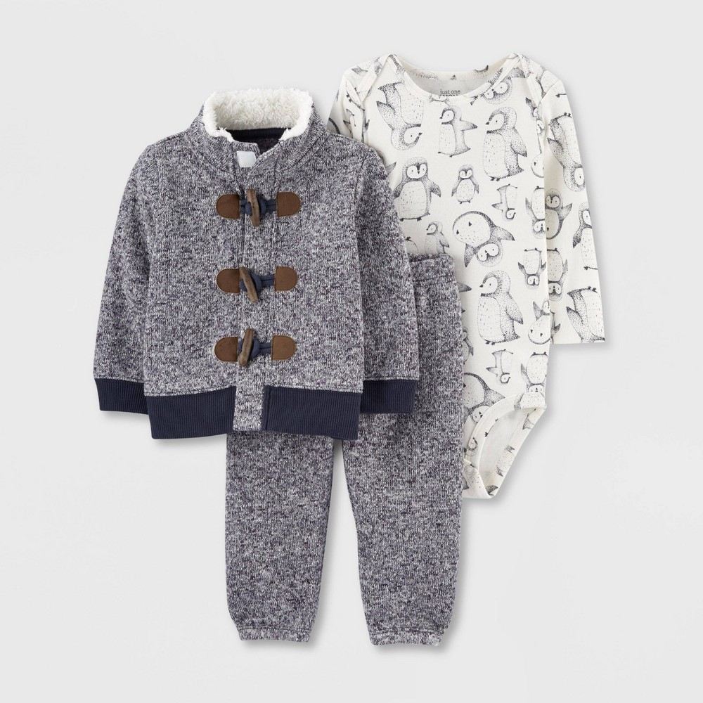 Image of Baby Boys' 3pc Toggle Penguin Top & Bottom Set - Just One You made by carter's Blue/White 3M, Boy's