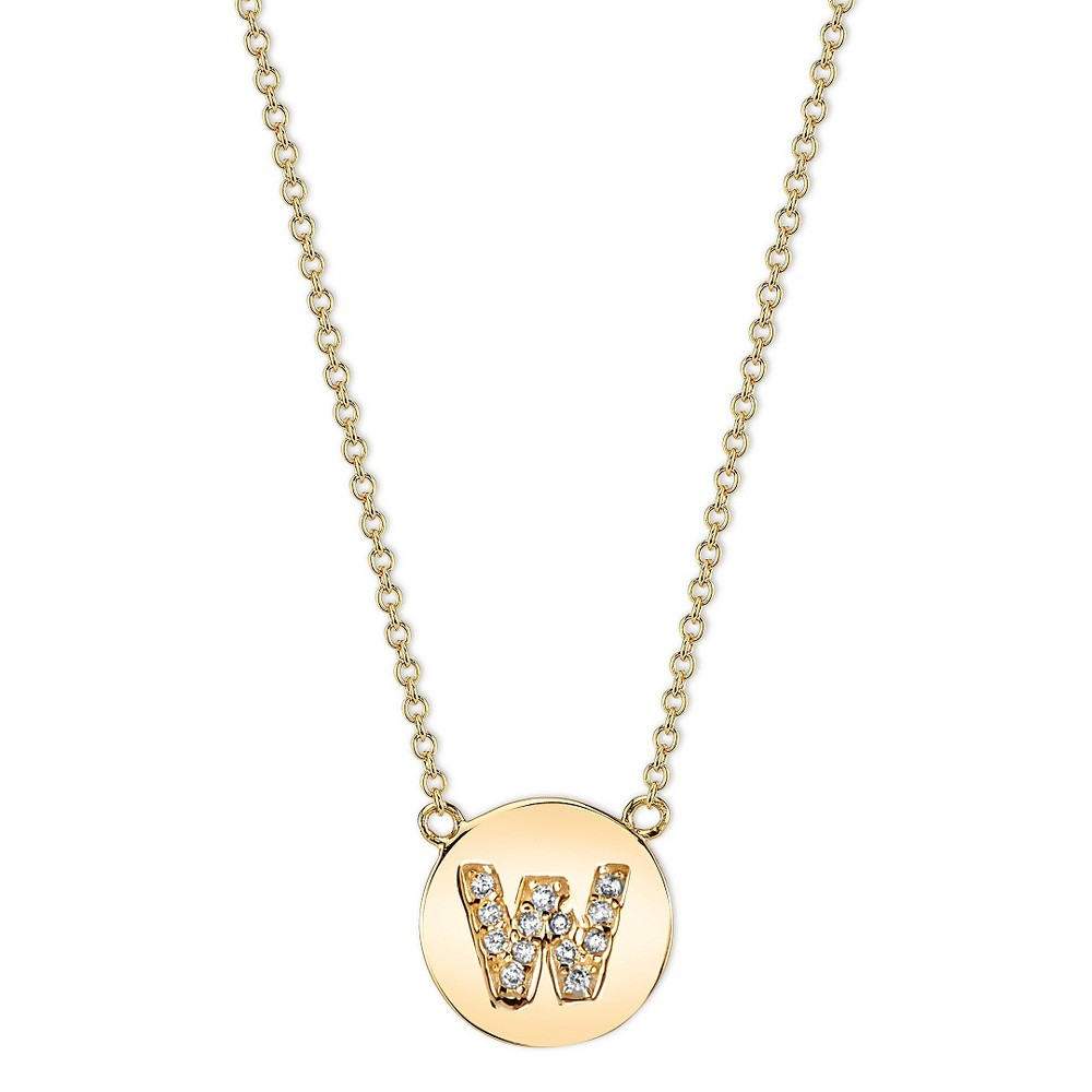 Sterling Silver Station Necklace Pave Initial 'b' - Gold (18.4), Women's, Size: B, Clear Gold
