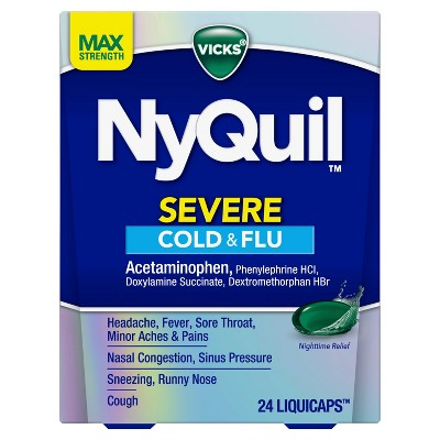 Vicks NyQuil Severe Cough, Cold & Flu Relief Liquicaps - Acetaminophen - 24ct