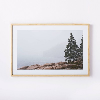 "36"" x 24"" Whitewash Foggy Seaside Framed Wall Art Brown - Threshold™ designed with Studio McGee"