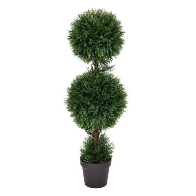3' Artificial Cedar Double Balls In Pot (UV) - Vickerman
