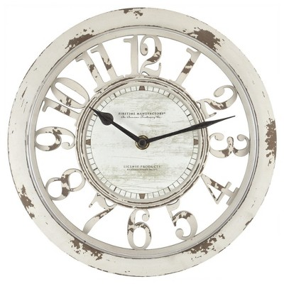 Antique Contour 10  Round Wall Clock Distressed Ivory - FirsTime®