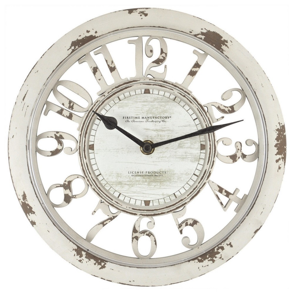 Image of Antique Contour 10 Round Wall Clock Distressed Ivory - FirsTime