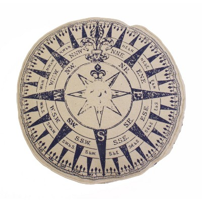 """16"""" Round Compass Printed Faux Line Pillow Natural/Blue - Décor Therapy"""