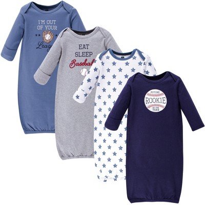 Hudson Baby Infant Boy Cotton Long-Sleeve Gowns 4pk, Baseball, 0-6 Months
