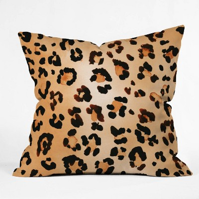"""16""""x16"""" Amy Sia Animal Leopard Brown Throw Pillow Brown - Deny Designs"""