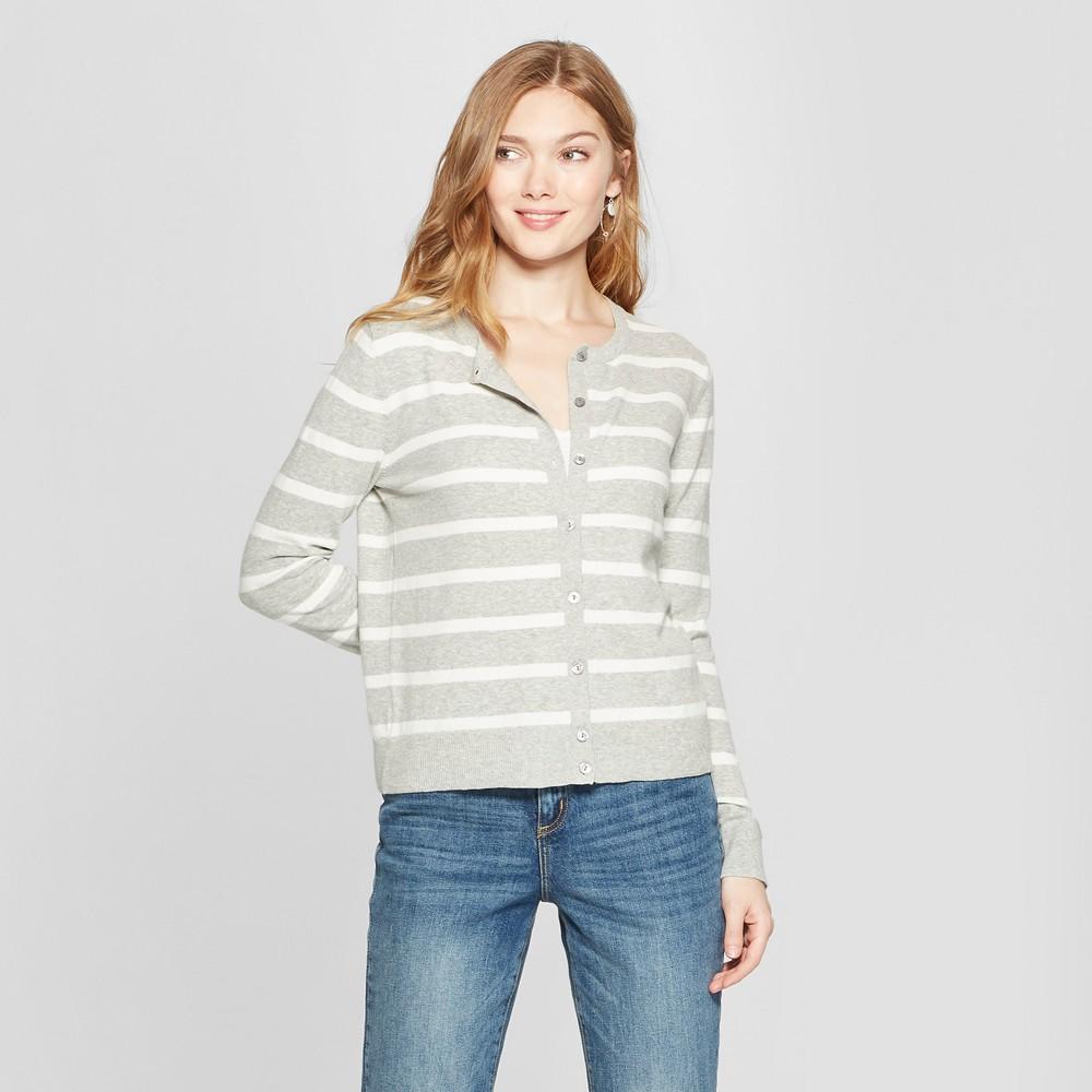 Women's Striped Crewneck Cardigan - A New Day Gray/Cream L
