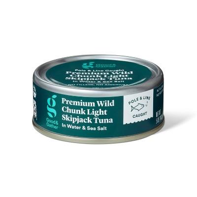 Premium Wild Skipjack Chunk Light Tuna in Water and Sea Salt - 5oz - Good & Gather™