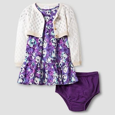 Baby Girls' Dress and Cropped Cardigan Cat & Jack™ - Purple/Almond Cream 12M