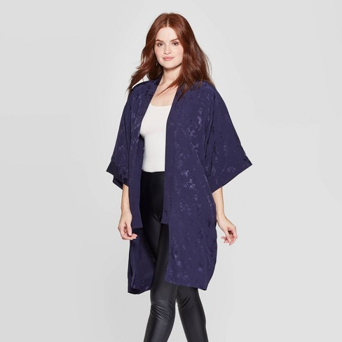 Women's Floral Print Kimono - A New Day™ Navy One Size - image 1 of 2